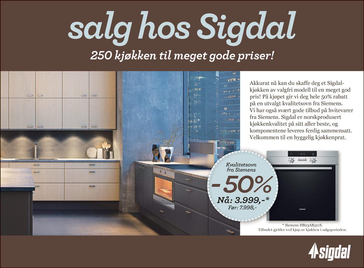 Herlig Salg hos Sigdal - Gulli Trevarefabrikk AS Kjøkken Tønsberg WO-61